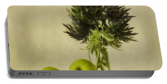 Green Apples And Blue Thistles Portable Battery Charger