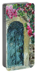 Green Italian Door With Flowers Portable Battery Charger