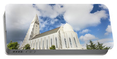 Hallgrimskirkja Church In Reykjavik Portable Battery Charger