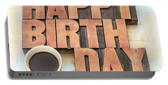 Happy Birthday Greeting Card In Wood Type Portable Battery Charger