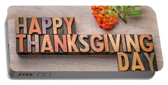 Happy Thanksgiving Day In Wood Type Portable Battery Charger