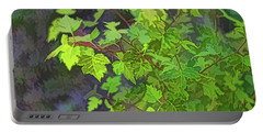 Hawthorn Leaves In Green Portable Battery Charger
