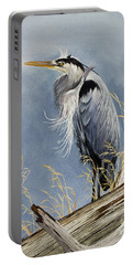 Portable Battery Charger featuring the painting Herons Windswept Shore by James Williamson