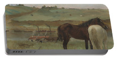 Horses In A Meadow Portable Battery Charger