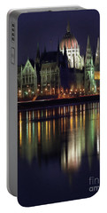 Hungarian Parliament By Night Portable Battery Charger