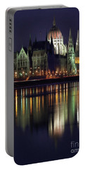 Portable Battery Charger featuring the painting Hungarian Parliament By Night by Odon Czintos