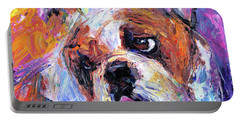 Impressionistic Bulldog Painting  Portable Battery Charger