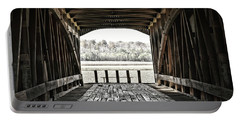 Inside The Covered Bridge Portable Battery Charger by Joanne Coyle