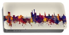 Portable Battery Charger featuring the digital art Iowa City Iowa Skyline by Michael Tompsett
