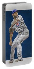 Jake Arrieta Chicago Cubs Art Portable Battery Charger by Joe Hamilton