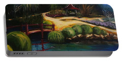 Portable Battery Charger featuring the painting Japanese Gardens - Original Sold by Therese Alcorn