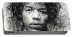 Portable Battery Charger featuring the drawing Jimi Hendrix by Taylan Apukovska