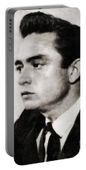 Johnny Cash, Singer Portable Battery Charger by John Springfield