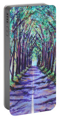 Portable Battery Charger featuring the painting Kauai Tree Tunnel by Marionette Taboniar