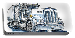 Kenworth Truck Ink Drawing And Watercolor Portable Battery Charger