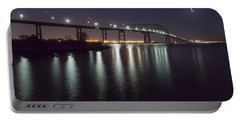 Key Bridge At Night Portable Battery Charger by Brian Wallace