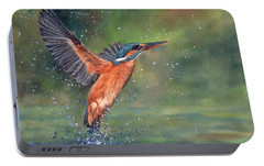 Portable Battery Charger featuring the painting Kingfisher by David Stribbling