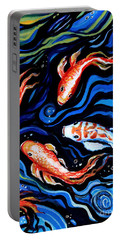 Koi Fish In Ribbons Of Water Portable Battery Charger