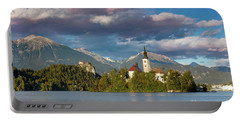 Portable Battery Charger featuring the photograph Lake Bled Evening by Brian Jannsen