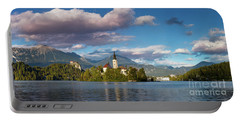 Portable Battery Charger featuring the photograph Lake Bled Panoramic by Brian Jannsen