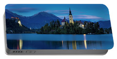 Portable Battery Charger featuring the photograph Lake Bled Twilight by Brian Jannsen