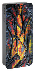 Leather And Flames Portable Battery Charger by Angela Stout