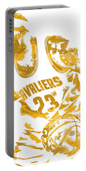 Lebron James Cleveland Cavaliers Pixel Art 7 Portable Battery Charger by Joe Hamilton