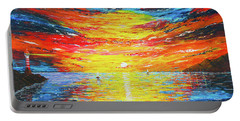 Portable Battery Charger featuring the painting  Lighthouse Sunset Ocean View Palette Knife Original Painting by Georgeta Blanaru