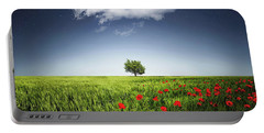 Lone Tree A Poppies Field Portable Battery Charger by Bess Hamiti