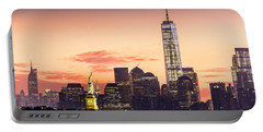 Lower Manhattan And The Statue Of Liberty At Sunrise Portable Battery Charger by Mihai Andritoiu