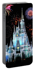 Magic Kingdom Castle In Frosty Light Blue With Fireworks 06 Mp Portable Battery Charger