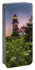Maine West Quoddy Head Light At Sunset Portable Battery Charger by Ranjay Mitra
