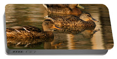 Mallards Swimming In The Water At Magic Hour Portable Battery Charger