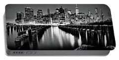 Manhattan Skyline At Night Portable Battery Charger