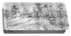 Manhattan Skyline - Graphic Art - White Portable Battery Charger