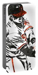 Portable Battery Charger featuring the mixed media Manny Machado Baltimore Orioles Pixel Art by Joe Hamilton