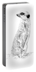 Portable Battery Charger featuring the mixed media Meerkat In Charge by Elizabeth Lock