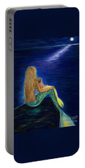 Portable Battery Charger featuring the painting Mermaids Sweet Babies Moon by Leslie Allen
