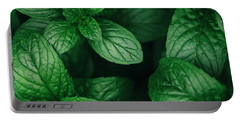 Mint Green Leaves Pattern Background Portable Battery Charger