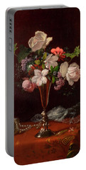 Mixed Flowers With A Box And Pearls Portable Battery Charger