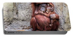 Mom And Baby Orangutan Portable Battery Charger by Stephanie Hayes