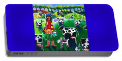 Moo Cow Farm Portable Battery Charger by Jackie Carpenter
