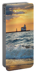 Portable Battery Charger featuring the photograph Morning Dance On The Beach by Bill Pevlor