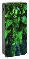 Morning Dew On Plant Portable Battery Charger by Phil Perkins