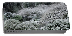 Morning Snow In The Garden Portable Battery Charger by Don Schwartz