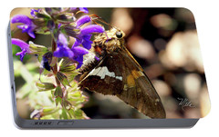 Portable Battery Charger featuring the photograph Moth On Purple Flower by Meta Gatschenberger