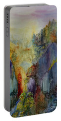 Portable Battery Charger featuring the painting Mountain Scene by Karen Fleschler