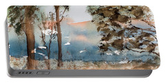 Portable Battery Charger featuring the painting Mt Field Gum Tree Silhouettes Against Salmon Coloured Mountains by Dorothy Darden