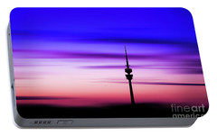 Portable Battery Charger featuring the photograph Munich - Olympiaturm At Sunset by Hannes Cmarits