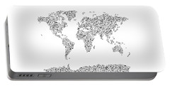 Music Notes Map Of The World Portable Battery Charger